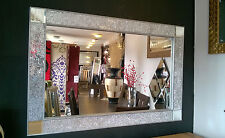 Crackle Design Wall Mirror Silver Chunky Frame Mosaic Glass 120X80cm Bling look!