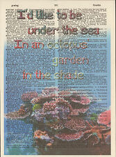 Beatles Octopus' Garden Coral Altered Art Print Upcycled Vintage Dictionary Page