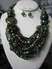 Multi Strand Multi Green Mix Glass & Heart Ceramic Bead Chunky Necklace Earring