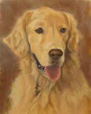 GOLDEN RETRIEVER DOG ART PRINT from Oil Painting by Artist P.Tarlow