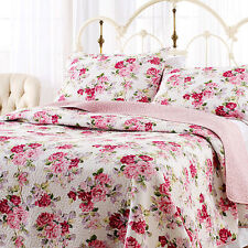 King Laura Ashley 100% Cotton Reversible Quilt Set,PINK ROSE FLORAL, Brand New!