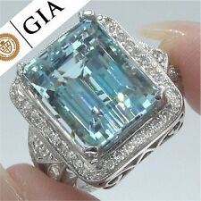GIA 14.45 ct FLAWLESS Natural Aquamarine Diamond 14k White Gold Estate Ring GEM