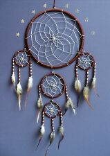 DREAM CATCHER LARGE BROWN + SILVER CENTRE dream catcher FAIR TRADE 22 X 50