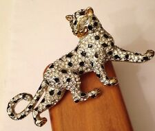 """Vintage Gold Tone Covered Rhinestone Enamel Panther 4"""" Pin Brooch"""