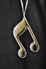 STAINLESS SILVER MUSIC NOTE CHRISTMAS ORNAMENT SIXTEENTH NOTE
