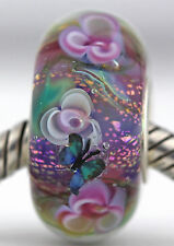 DREAM GARDEN sterling silver core european charm bead lampwork murano glass MWR