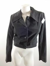 SIN BY MORGAN COOPER WOMENS BLACK CROPPED PVC WATERPROOF JACKET COAT SIZE M