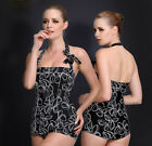 Womens Halterneck Swimwear Backless Swimsuit Black Tankini Swimdress 14 16 18 20