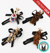 Lot 4 Korean Teddy Bear Plush Crown Pearl Bow Tie Hair Clip Hairpin Cute Kawaii