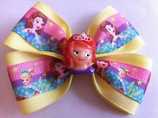 "Girls Hair Bow 4"" Wide Sofia the First Oona Yellow Ribbon French Barrette"