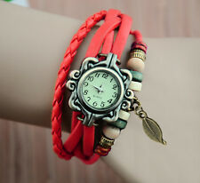Women's Fashion Ladies Wrist Watch Bohemian Retro Handmade Leaf Charm