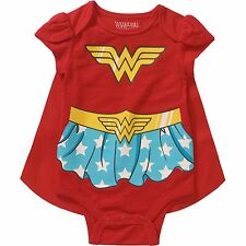 Baby Girls Wonder Woman Bodysuit/Onesie + Cape New with Tags Size 3-6 Months NWT