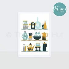 Kitchen | Art Print Mustard Grey Turquoise A3 | Scandinavian Retro Contemporary