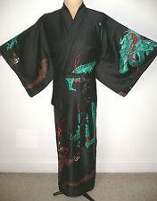 Japonés, larga para hombre negro sedoso, Kimono Estilo, Bata Bata, Dragones