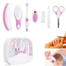 7pcs Baby Cleaning Hair Brushes Comb Nail Clipper Healthcare & Grooming Kit Pink