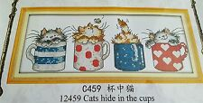 Cross stitch kit. Cats kittens in cups