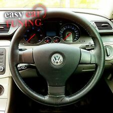 FOR VW PASSAT B6 TYP 3C 05-2010 BLACK REAL GENUINE LEATHER STEERING WHEEL COVER