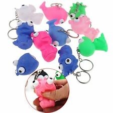 Fashion Animal Squeeze Pop Toy Out Eyes Doll Stress Relief Key Ring Keychain