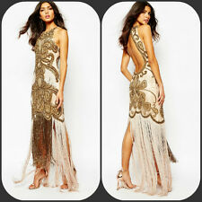 a star is born 20s gatsby flapper Fringe Pink Gold Bead Evening Prom Dress 14 42
