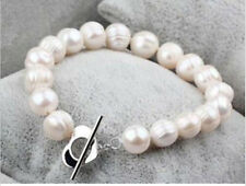 """Natural 10-11MM Real white freshwater cultured pearl bracelet 7.5"""""""