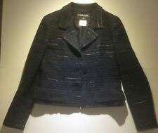 CHANEL BLAZER BLACK & GREY with SILVER BUTTONS FANTASY TWEED Size 38 UK 10