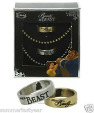 BEAUTY AND THE BEAST HIS AND HER RING / NECKLACE SET DISNEY SIZES 7 & 10