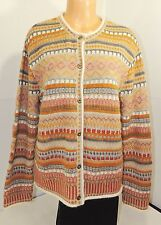Alpaca 111 Brown,Red & Gray Tribal Print 100% Alpaca Cardigan Sweater Sz L #1747