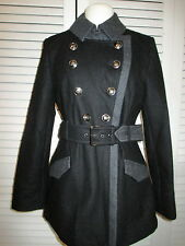 BUFFALO DAVID BITTON BLACK/GRAY DB BELTED COAT SILVER BUTTONS WOOL BLEND SZ M