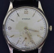 VINTAGE ETERNA GENTS SOLID 9CT GOLD 1957 WRIST WATCH