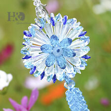 Blue Hanging Suncatcher Crystal Prism Beads Tassel Fengshui Pendant Wedding Gift