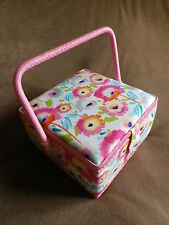 SQUARE PINK VIBRANT FLOWER FLORAL FABRIC COVERED SEWING BASKET / WORK BOX. NEW