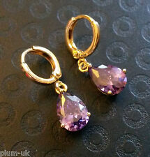 E18 Purple amethyst pear drop 18k yellow gold gf hoop earrings BOXED Plum UK