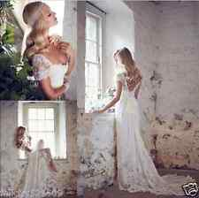 NEW Sexy Lace White/Ivory Wedding Dress Prom Ball Bride Gown Custom Size 4-20+++