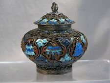 CHINESE EXPORT SILVER & ENAMEL LIDDED JAR