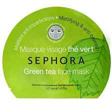 Sephora GREEN TEA Fiber Face Mask 22g MATTIFYING & ANTI-BLEMISH * UK SELLER