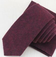 New Country Soft Wine Skinny Wool Tie. Excellent Quality & Reviews. Uk Seller.