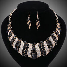 Women Gold/Plated Black Rhinestone Crystal Necklace Earring Wedding Jewelry Sets