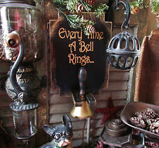 Primitive Antique Vtg Style Wood Christmas Angel Wings Rack Sign Tin School Bell