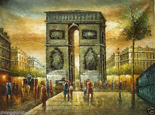 Oil painting Paris street scene with huge building Landmark Triumphal arch