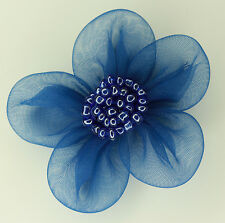 5 X Large Organza Flowers Sew On Appliques   Colour: Blue   #2
