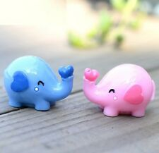 FD2370 Love Elephant Miniature Dollhouse Ornament Flower Pot Aquarium Craft 1pc