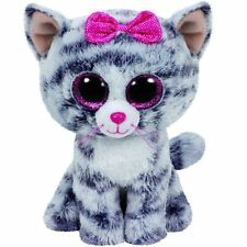 TY Beanie Boo 6 Inch Kiki the Grey Cat & Pink Bow - Collectable Plush