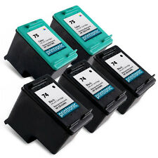 5pk Printronic For HP 74 75 Ink Cartridges HP75 HP74 CB335WN CB337WN