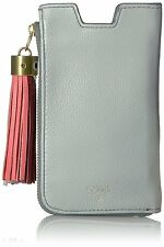 New Fossil Tech Slide Iron SL7130088 Leather Cell Phone Wallet Grey Tassle Cute