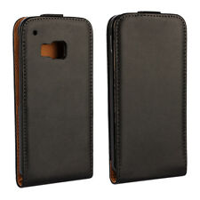 For HTC One M9 Black Genuine Real Leather Classic Slim Case Cover Skin