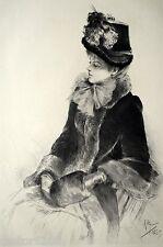 GRAVURE 1886 Jeune femme PARISIENNE Rodolphe PIGUET chapeau 31x22cm L'Art
