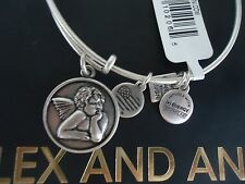 Alex and Ani  CHERUB Russian Silver Finish Charm Bangle New W/ Tag Card & Box