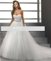 UK Seller Tulle White Ivory Strapless Wedding Dress Size 10 16 18