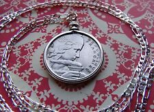 "1954-1957 French Maiden 100 Franc Pendant on a 30"" 925 Sterling Silver Chain"