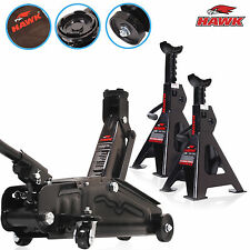HAWK TOOLS 2 TON PRO DIY LIFTING TROLLEY JACK AND AXLE STAND GARAGE WORKSHOP SET